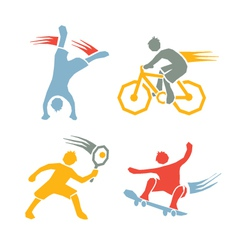 Active boys fitness sports set 3 vector