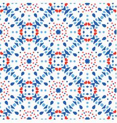 blue red pattern flower tile background vector image