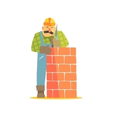 Builder leveling brick wall on construction site vector