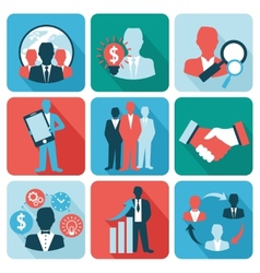 Business and management icons flat vector