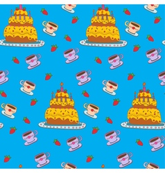 Happy Birthday Seamless Pattern with Cake vector image