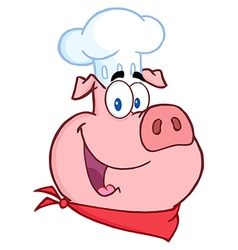 Happy Pig Chef Head vector image vector image
