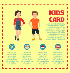 kids card template for infographic vector image