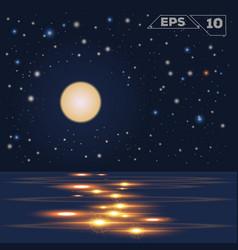 oceain in night moon vector image vector image