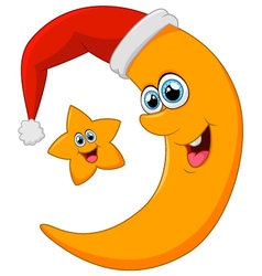 star and moon on christmas vector image vector image