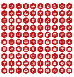 100 internet marketing icons hexagon red vector image