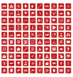 100 security icons set grunge red vector