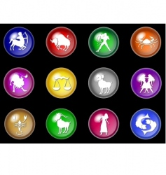 12 colorful zodiac web buttons vector image