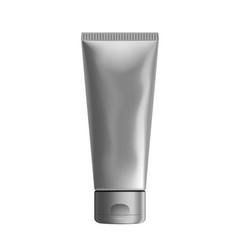 3d silver foil tube squeezed packaging mockup vector