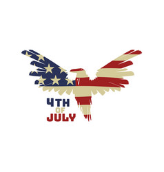 4th july background with american eagle flag vector image