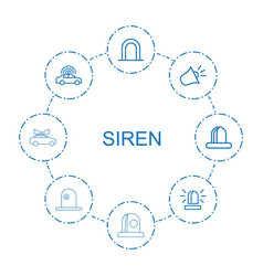 8 siren icons vector