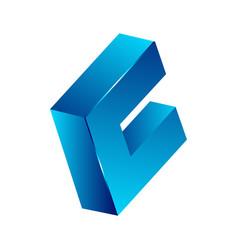 abstract 3d square logo design corner geometric vector image