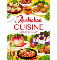 Australian cuisine meals menu cover vector
