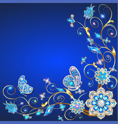 background frame with butterflies and ornaments vector image