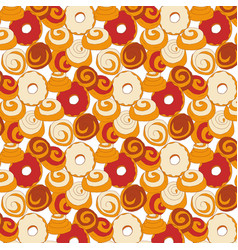 Bakery seamless pattern with buns vector
