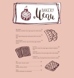 Bakery vintage restaurant menu template vector