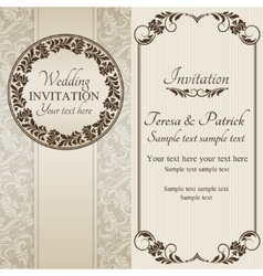 Baroque wedding invitation brown and beige vector image