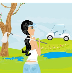Beautiful girl playing golf vector
