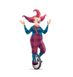big top circus cartoon clown on monocycle vector image