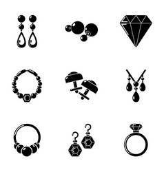 bijouterie icons set simple style vector image