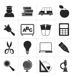 Black education and school icons vector image