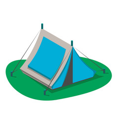 Blue tourist tent icon isolated vector