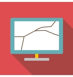 Broken screen of computer icon flat style vector