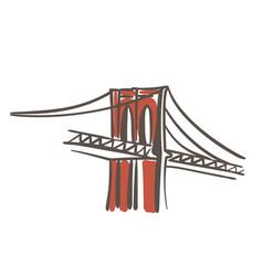 Brooklyn bridge flat color vector