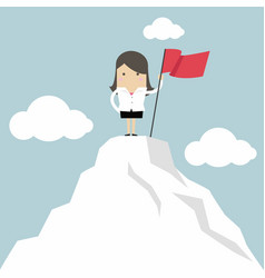 businesswoman on the top of the mountain vector image