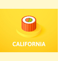 California isometric icon isolated on color vector