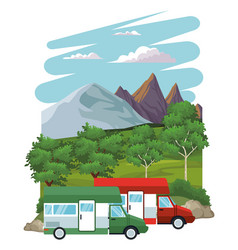 Caravan at landscape vector