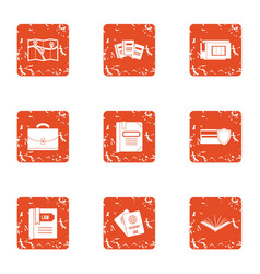 card icons set grunge style vector image