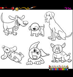 Cartoon dogs characters coloring book vector