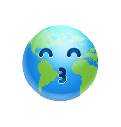 Cartoon earth face whistling icon funny planet vector