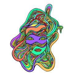 Cartoon fantastic colorful cyborg girl face in vector