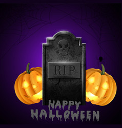 Cartoon grave with tombstone a vector