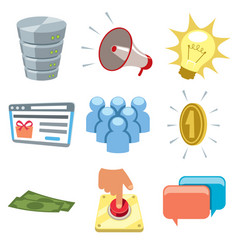 cartoon internet icons 2 vector image