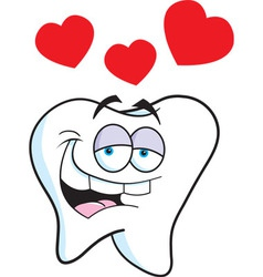 Cartoon tooth with hearts vector image