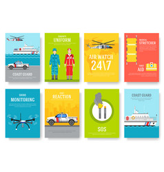 Coast guard thin line brochure cards set guarding vector