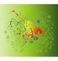Colored paint splashes isolated on green backgroun vector