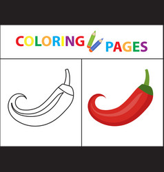 Coloring book page sketch outline and color vector