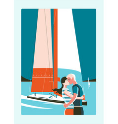 couple kissing against sea and sailing yacht vector image