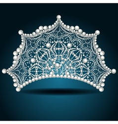 crown tiara with pearl white female vector image