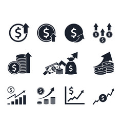 currency increase icon set money rate growth vector image