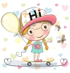 Cute Cartoon Girl with balloon vector image