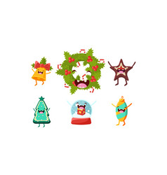 cute christmas cartoon characters set funny vector image