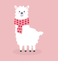 cute llama isolated valentine card vector image
