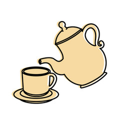 Cute teapot kitchenware vector
