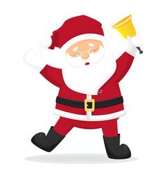 dancing cartoon santa claus with golden bell vector image