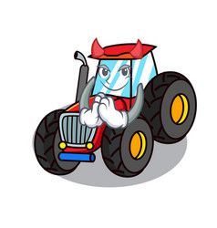 Devil tractor mascot cartoon style vector